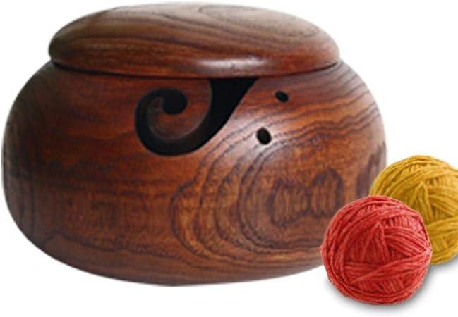 Wooden Wool Bowl With Lid Dustproof Crochet Bowl Yarn Storage Bowl For Knitting