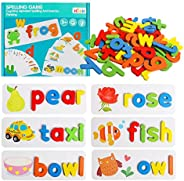Kizh See Spelling Learning Toy Wooden Educational Developmental Toy Develops Vocabulary and Spelling Skills wi