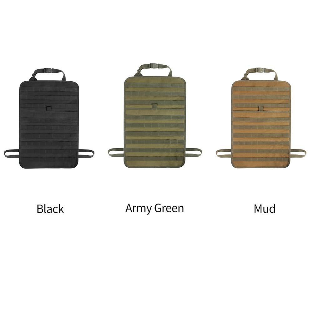 universal accesorios para colgar multifunci/ón barro organizador de espalda t/áctica protectora casual negro Bolsa para asiento de coche soporte de almacenamiento para veh/ículo al aire libre