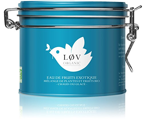 Løv Organic Exotic Fruit Tea - Apple, Rosehips. Mango, Hibiscus, Chicory, Pineapple, and Passion Fruit Infusion Refreshing and Pleasurable Perfect for Tea Lovers (3.5oz Tin 40 Servings)