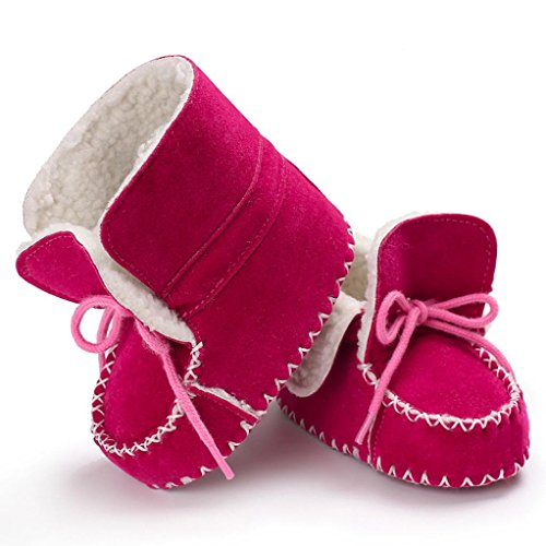 ❆HUHU833 Kinder Mode Baby Stiefel Soft Sole, Keep Warm Schnee Stiefel, Kleinkind Stiefel Warm Schuhe (0-18 Month) Rose rot