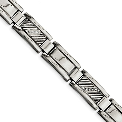 Diamond Platinum Fashion Bracelets (ICE CARATS Stainless Steel Textured Diamonds 8.5 Inch Bracelet 8.50 Man Link Men Fashion Jewelry Dad Mens Gift Set)