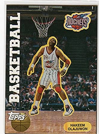 af4c66a82 Hakeem Olajuwon RARE 1997 Topps Basketball Card Sticker Houston Rockets