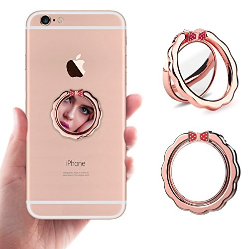 Price comparison product image Kresdy Cell Phone Finger Ring Holder,Mirron Surface Design Ring Grip Kickstand for Iphone 8 plus 7 7 Plus 6 6S, Galaxy Tablet,Fit For Magnetic Car Mount, 360°Finger Ring Stand for (Mirror Rose Gold)