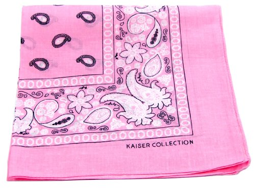 New Double Sided Print Paisley Bandana Scarf, Head Wrap (Lite Pink, 22