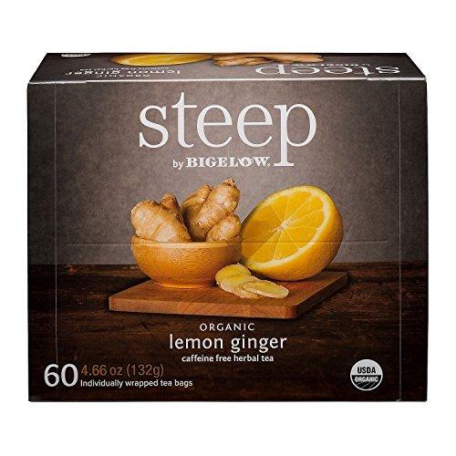 Steep by Bigelow organic lemon ginger caffeine free herbal tea 60 count (4.66 ounces, 132 grams)