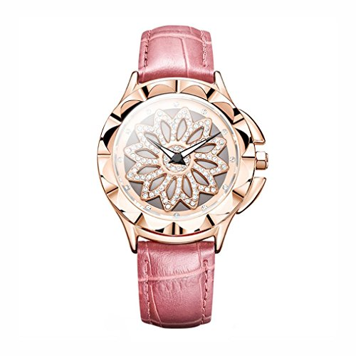 Sacow Wristwatch, Fashion Rotatable Dial Watch Leather Band Bracelet Wristwatch for Women (Pink) (Resin Stopwatch Mens)