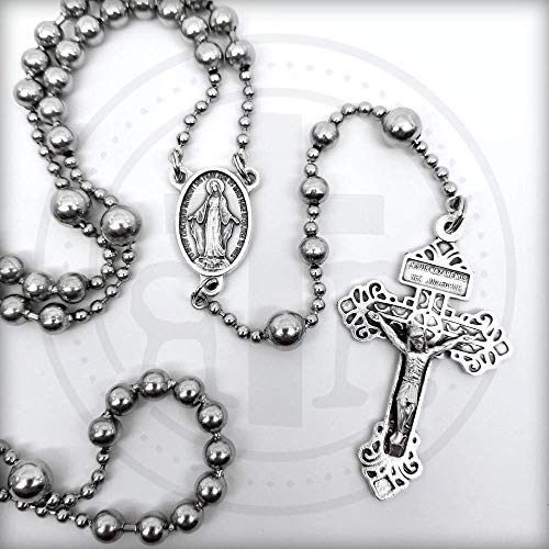 Strong Silver Pull Chain Soldier Rosary