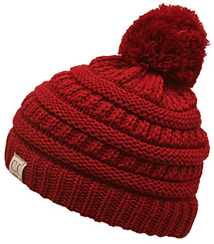 Kids Beanie Red (H-6847-42 Girls Winter Hat Warm Knit Slouchy Toddler Kids Pom Beanie - Red)