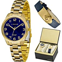 Kit Relógio Feminino Lince LRG4459LKT78D2KX Dourado