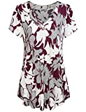 MOQIVGI Floral Tunic, Woman Fashion Classic Wood Button Embellished Flowy T Shirt Vibrant Adorable V-Neck Drapey Swing Blouse Tops Popular Elegant Business Casual Clothes Multicoloured Red XX-Large