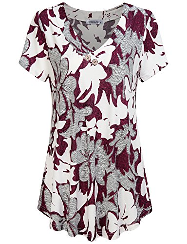 Rose Blouse Print (MOQIVGI Work Blouse, Ladies Fancy Ombre Rose Print Button Tops Fashion Office Casual Wear Figure Flattering A-line Flowy Tunics Short Sleeve Vneck Summer Shirts for Women Multicoloured Red X-Large)