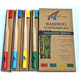 Premium Bamboo Toothbrushes   Natural Organic Toothbrushes in Rainbow Colours   Medium Bristles   Biodegradable   100% Recyclable Packaging   Eco Toothbrush Kids & Adults