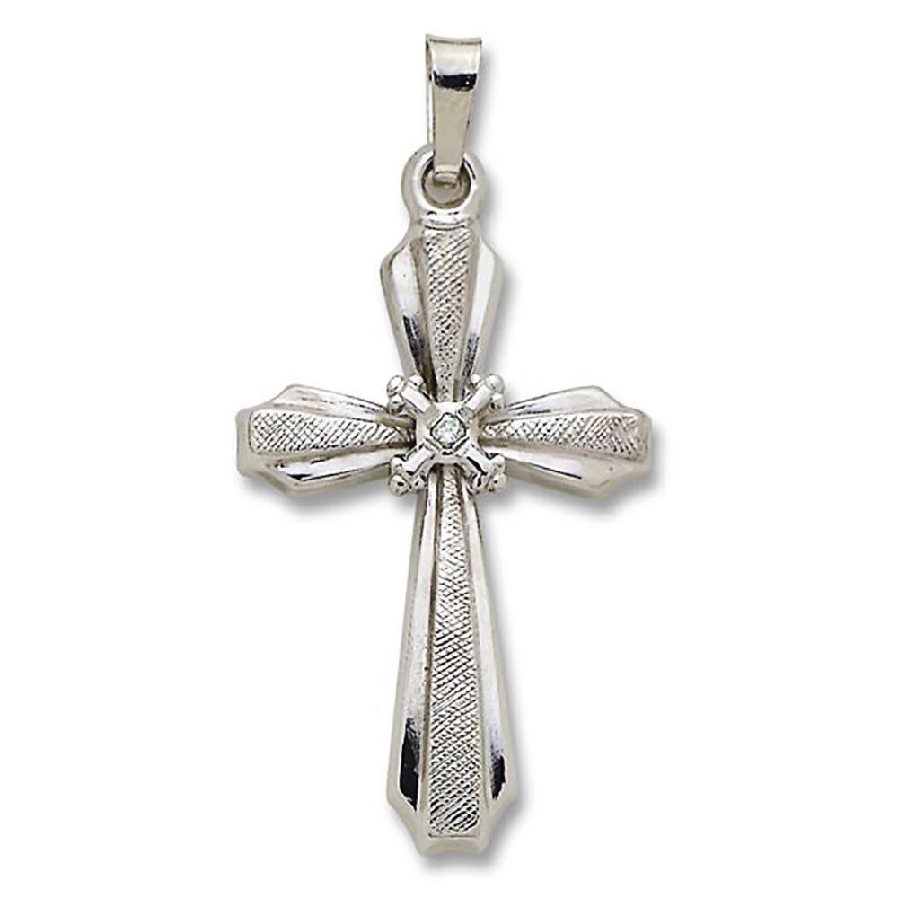 Religious Gifts 14kt White Gold Cross Diamond Center Cross Pendant 1 1//16 Inch