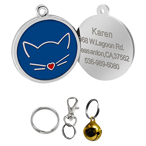 Didog Cat Face Shape Custom Pet ID Tags for Cats,Personlized - Faces Of Shapes