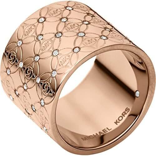 Michael Kors MKJ4289 MKJ4289791 Rose Gold Heritage Monogram Ring Size 8