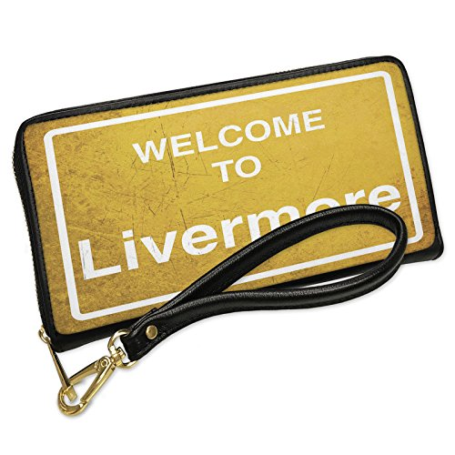 Wallet Clutch Yellow Road Sign Welcome To Livermore with Removable Wristlet Strap Neonblond