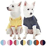 Blueberry Pet Pack of 2 Back to Basic Cotton Blend Summer Dog Polo Shirts in Yellow and Smart Grey, Back Length 16'', Clothes for Dogs