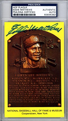 Eddie Mathews Autographed Signed HOF Postcard Milwaukee Braves #83935392 PSA/DNA Certified MLB Cut Signatures