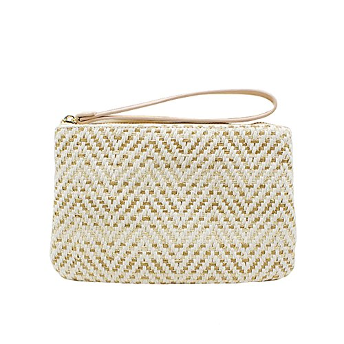 Donna Casual donne l'Oro Messenger Beach sacchetto Borse Mini borse di Summer Frizione Travel signora Beige paglia tSx65