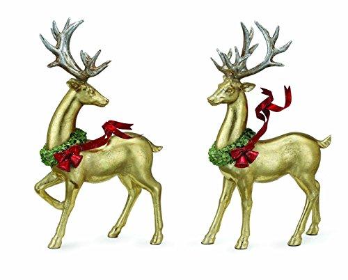 Gold Reindeer Figure, Set of 2 Assorted (Reindeer Sets Figurine)