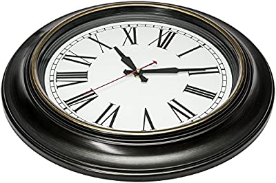 """Bernhard Products Large Wall Clock 18"""" Quality Quartz Silent Non Ticking, Battery Operated for Home/Living Room/Over Fireplace, Beautiful Decorative Timeless Stylish Clock"""