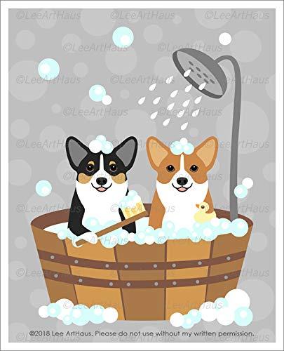 - 641D - Two Corgi Dogs in Wooden Bathtub UNFRAMED Wall Art Print by Lee ArtHaus