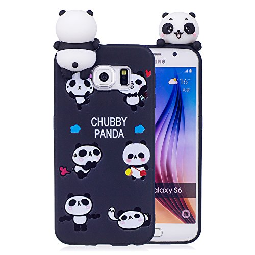 DAMONDY Galaxy S6 Case,Samsung S6 Case, 3D Cute Cartoon Animals Pattern Soft Silicone Gel Slim Design Rubber Thin Protective Cover Phone Case for Galaxy S6 2015-black panda Black Silicone Phone Case Cover