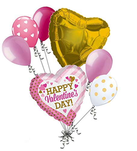 Hugs And Kisses Bouquet (7 pc Pink & Gold Hearts Happy Valentines Day Balloon Bouquet Kiss Hugs Be Mine)