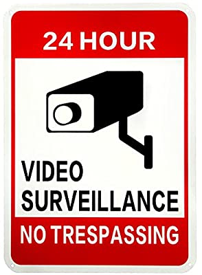 "WISLIFE Video Surveillance Sign-40 Mil Rust-free Aluminum Glow-in-the-Dark Signs, Home Business 24 Hours Security, No Trespassing Security Sign 10"" X 14"""
