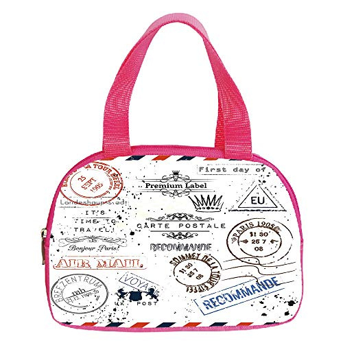 Multiple Picture Printing Small Handbag Pink,Henna,Eastern Civilizations Inspired Doodle Style Art Floral Arrangement Sketch Print Decorative,Caramel Cream,for Girls,Comfortable Design.6.3