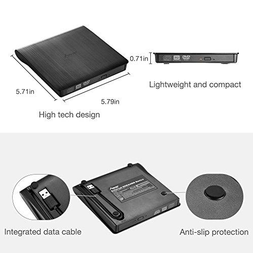 External DVD Drive, MAD GIGA USB 3.0 Transmission Slim Portable External DVD CD +/-RW Writer/Burner/Rewriter ROM Drive Perfect for Mac OS/Win7/Win8/Win10/Vista PC Desktop Laptop by MAD GIGA (Image #4)