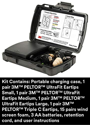 3M PELTOR TEP-200 Tactical Earplug Kit, NRR 23dB, Rechargeable, Noise Reduction, Construction, Law Enforcement