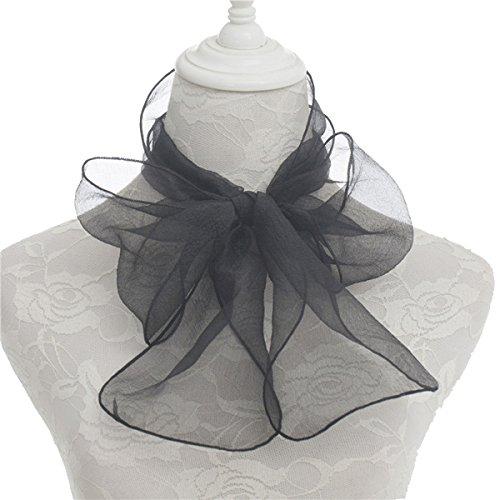 Sock Dresses Hop (Women's Organza Plain Black Skinny Necktie Scarf 14017cm Sash Tie Ribbon)