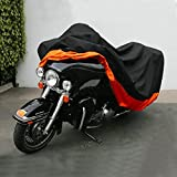 Waterproof Motorcycle Cover, Dealpeak Durable Heat Sun Resistant All Season Outdoor Protection Storage Cover for Harley Davidson, Sport Bike, Touring (XXXL)