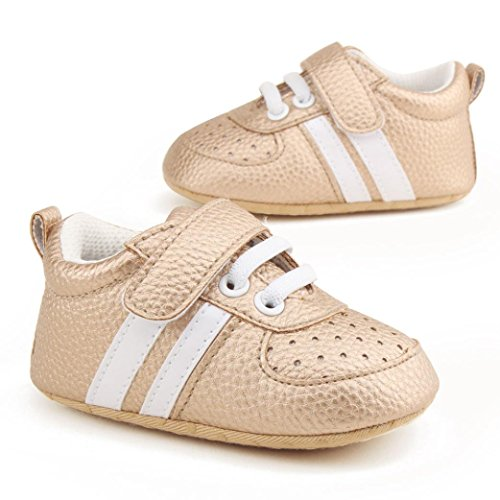HUHU833 Unisex-Baby Neugeborene Säuglingsbaby Soft Crib Schuhe, Kleinkind Schuhe, Runde Zehe weiche alleinige Anti Rutsch Schuhe Gold