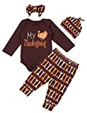Baby Girl Clothes My First Thanksgiving Newborn Romper with Hat and Pants Outfits Sets 4PC