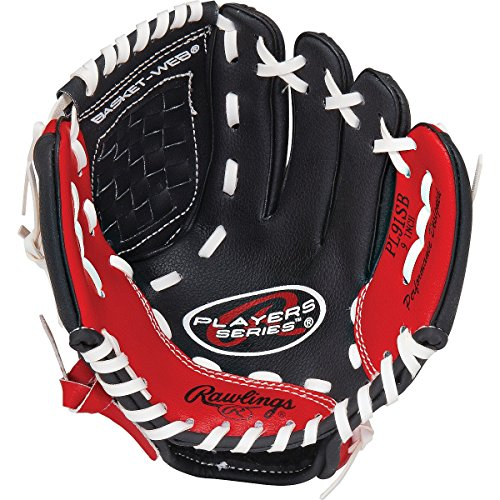 Rawlings Players Series Youth T-Ball Glove, Regular, Basket-Web, 9 (Black Rawlings Bat)