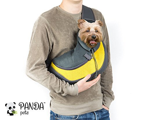 Cuddlissimo! Pet Sling Carrier - Small Dog Cat Sling Pet Carrier Bag Safe Reversible Comfortable Machine Washable Adjustable Pouch Single Shoulder Carry Tote Handbag for Pets Below 6lb (Yellow)