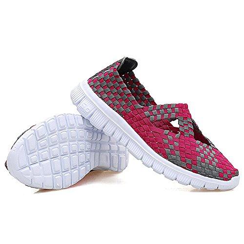 Rainlin Womens Multi Vävda Mode Sneakers Andas Slip-on Walking Skor Ljus