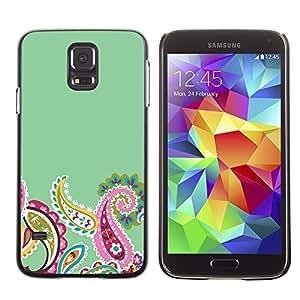 TopCaseStore / la caja del caucho duro de la cubierta de protección de la piel - Indian Floral Pattern Green Pink Minimalist - Samsung Galaxy S5 SM-G900