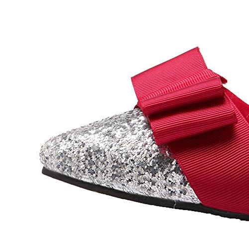 Amoonyfashion Kvinnor Pådrag Slutna Tå Låga Klackar Diverse Färg Pumpar-shoes Röda