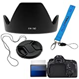 BIRUGEAR Screen Protector + 72mm Flower Lens Hood EW-78D + Lens Cap with Strap + Wrist Strap Lanyard for Canon...