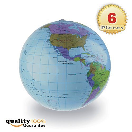 16 Inch Blue Globe - Inflatable World Globe Beach Educational Balls 6-counts, 14-16 inch, Light Blue by PMLAND