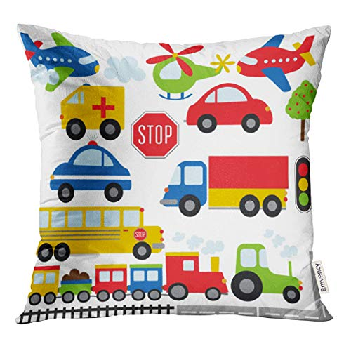 Semtomn Decorative Throw Pillow Cover Square 18x18 Inches Pillowcase Train Car Toy Plane Clipart Transport Cartoon Truck Pillow Case Home Decor for Bedroom Couch Sofa
