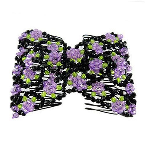 Hair Clip Comb,Elastic Stretch Flower Bow Glass Bead Hair Head Comb Cuff Magic Hairpins Fashion (Purple) (Glass Bead Head)