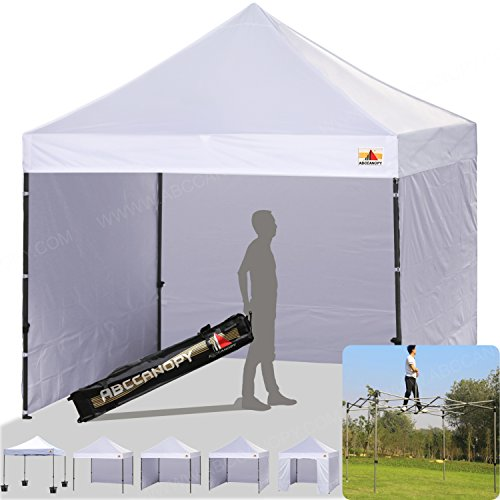 ABCCANOPY (18+colors) 8ft by 8ft Ez Pop up Canopy Tent Commercial Instant Gazebos with 4 Removable Sides and Roller Bag and 4x Weight Bag (white)