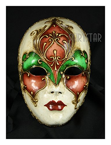 Carnival Of Venice Italy Costumes (Italian Made Venetian Volto Mask Full Face Multi (Pink/Green))