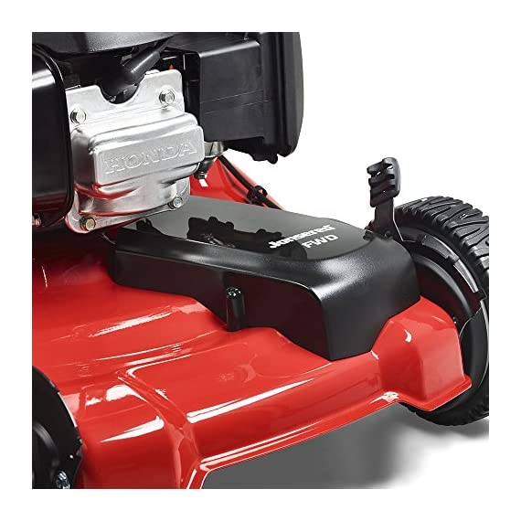 Jonsered L2821, 21 in. 160cc GCV160 Honda 3-in-1 Walk Behind Front-Wheel-Drive Mower 5 Powered by 160cc Honda GCV160 engine with 6.9 ft-lbs Gross torque Dual trigger control system allows you to operate with either hand, or split the effort between both. High-tunnel cutting deck design delivers premium cut quality and bagging performance while providing a close trim, every time.