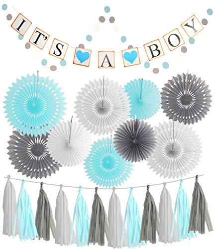 (Blue White Grey Baby Boy Baby Shower Decorations/Grey Elephant Baby Shower, Blue Baby Shower Decorations For Boy - Its A Boy Party Decor | Garland Banner |Photo Props and)
